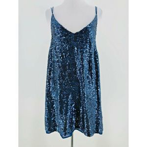 Free People Navy Blue Sequin Mini Tunic Dress XS